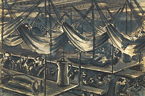 An Emil Wittenberg drawing depicting tables and hammocks.
