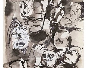 Faces, in ink and correction fluid