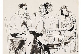 Men seated in ink