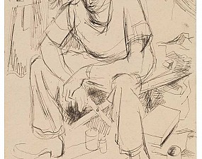 Seated man in pencil